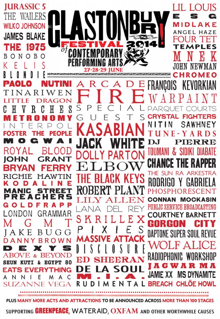 The full line-up for Glastonbury 2014